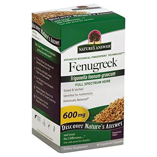 Natures Answer Fenugreek Seed 600 mg Capsule - 90 per pack - 2 packs per case.