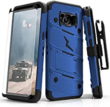 ZIZO Bolt Series Samsung Galaxy S8 Plus Case Military Grade Drop Tested with Tempered Glass Screen Protector Holster Blue Black