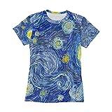 Ahomy Camisetas de mujer Van Gogh Pintura al óleo Luna Starry Sky O-Neck Pullover Camisetas de verano fresco divertido manga corta Tops