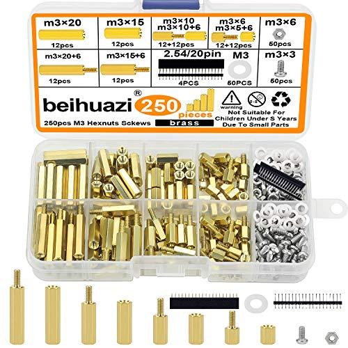 beihuazi® M3 Abstandshalter Hex Distanzhülsen PCB Board/Platinen Männlich Weiblich Gewinde Abstandsbolzen für Raspberry Pi Mainboard (250 Stück Messing)