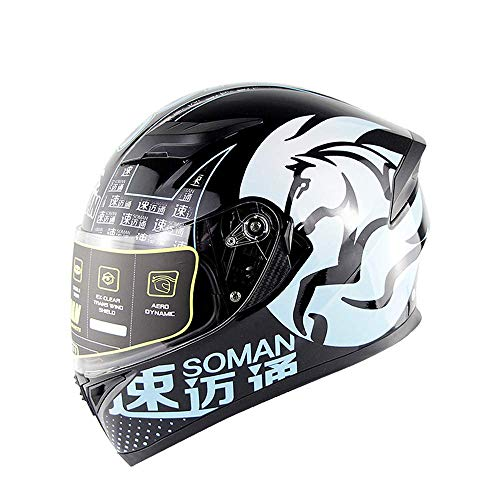 WGFGXQ Motorrad-Integralhelm DOT-Zertifizierung Straßenrennen Motorradhelm Cromwell-Helm Jet Doppelspiegel Modularer Flip-Helm (M, L, XL, XXL), Blau, XL