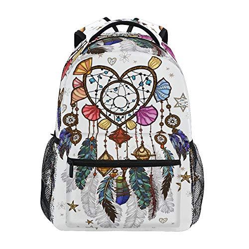 School Backpack ADMustwin Dreamcatcher Feather Pattern Starfish Travel Shoulders Bookbag Lightweight Waterproof College Laptop Backpack Elementary Large for Girls Boy Woman Man Teens