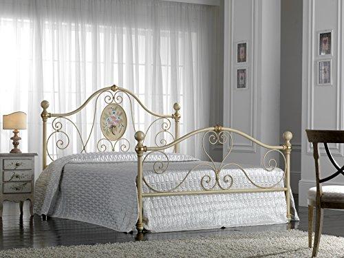 Bed Store Letto Matrimoniale in Ferro BATTUTO Modello Caterina Avorio