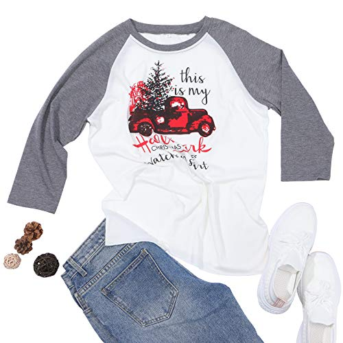 guest dream Women T-Shirt of Hallmark Christmas Movie Shirt Funny Graphic Tee Gray Raglan 3/4 Sleeve Top