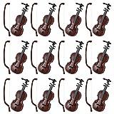 TOYANDONA 12 Sätze Mini Geige Modell Miniatur Geige Holz Mini Musikinstrument Urlaub Baum Puppenhaus Replik Weihnachtsverzierung Geschenke für Weihnachtsfeier Begünstigt Goody Bags