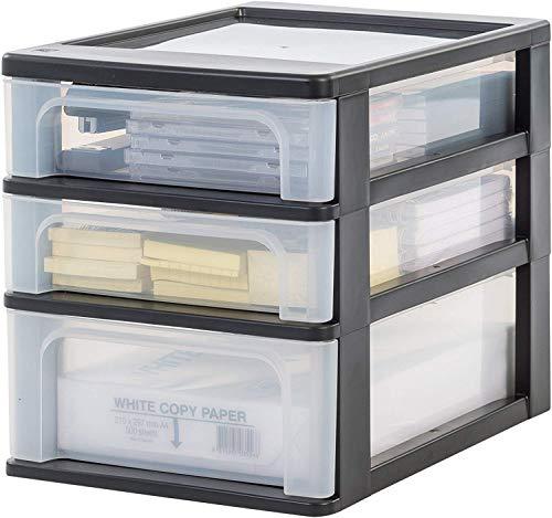 Iris Ohyama, Schubladenbox / Schubladencontainer - Organizer Chest OCH-2021 - plastik, schwarz, 2 x 4L + 1 x 7L, L35,5 x B26 x H29,5 cm