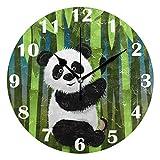 Jacque Dusk Reloj de Pared Moderno,Panda Bamboo Animal,Grandes Decorativos Silencioso Reloj de Cuarzo de Redondo No-Ticking para Sala de Estar,25cm diámetro