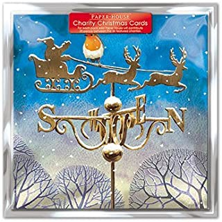 Charity Christmas Cards - Pack Of 6 Cards - Christmas Weather Vane - In aid of the following Charities: Marie Curie Cancer Care, British Heart Foundation, NSPCC, Age UK, Motor Neurone Disease. Tenovus Cancer Charity (0007)