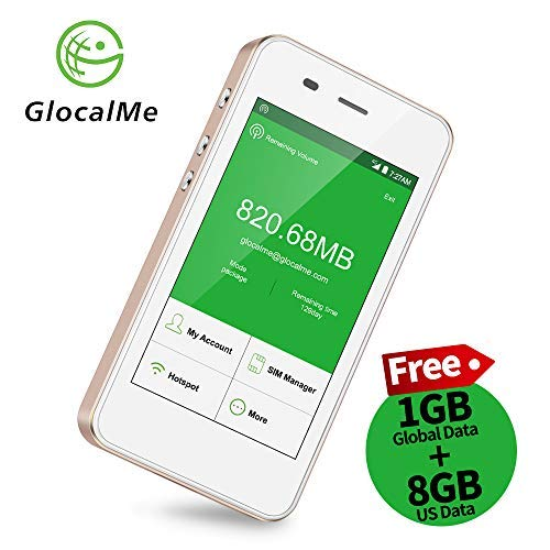 GlocalMe G3 4G LTE Mobile Hotspot, Worldwide High Speed WiFi Hotspot with US 8GB & Global 1GB Data, No SIM Card Roaming Charges International Pocket WiFi Hotspot MIFI Device (Gold)