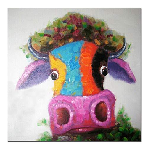 Fokenzary Hand bemalt Malerei Leinwand kleine Stier bunte Pop-Art-Wand-Dekor gerahmt bereit zum Aufhängen 24x24in