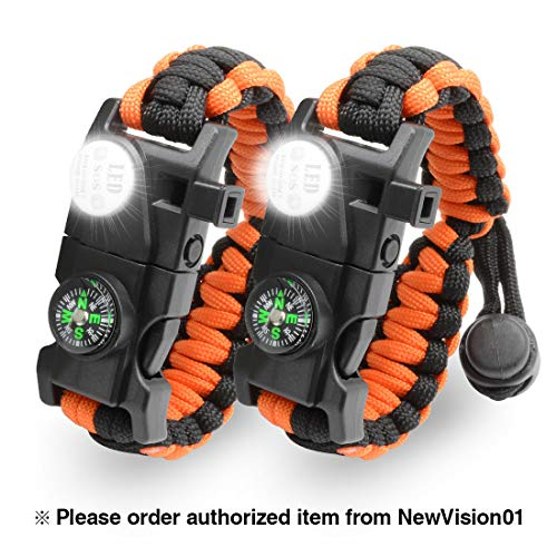 LeMotech Survival Bracelet, 20 in 1 Adjustable Survival Paracord Bracelet, Survival Gear Kit with Compass, Rescue Whistle, Fire Starter for Hiking, Camping and Hunting - 2 Pack