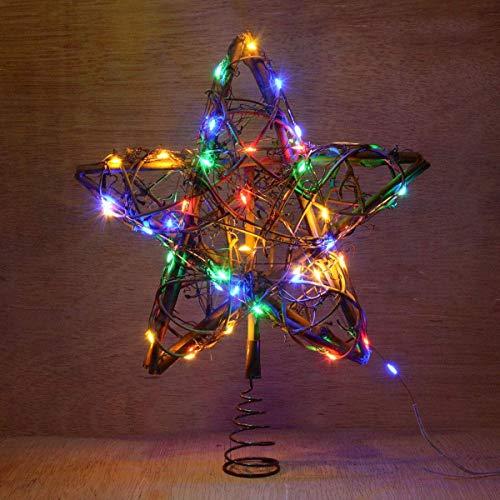 LY88 Julstjärna trädtopper, batteridriven rotting stjärna träd dekoration med flerfärgade ljusslingor för julgransdekorationer (flerfärgad belysning)