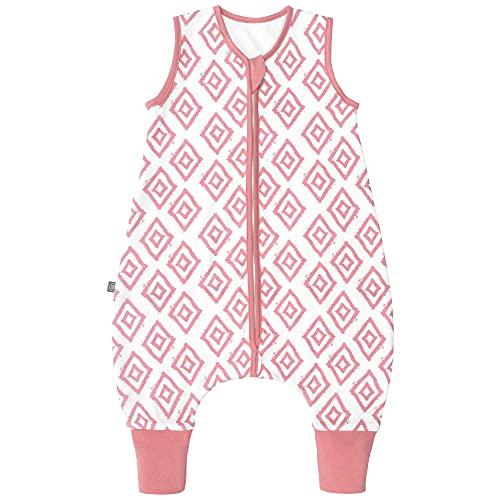 Premium Baby Schlafsack mit Füßen Sommer, Bequem & Atmungsaktiv, 100% Bio-Baumwolle, Oeko-TEX Zertifiziert, Flauschig, Bewegungsfreiheit, 1.0 TOG von emma & noah (Rauten Rosa, 90 cm)