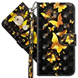 MRSTER Moto G7 Power Handytasche, Leder Schutzhülle Brieftasche Hülle Flip Hülle 3D Muster Cover mit Kartenfach Magnet Tasche Handyhüllen für Motorola Moto G7 Power. YX 3D - Golden Butterfly
