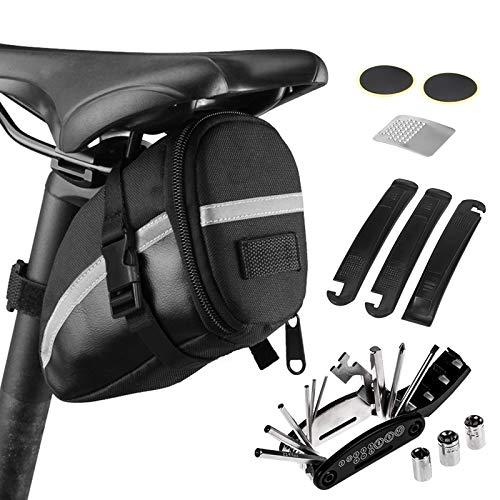 Lixada 16 en 1 Bolsa para Sillín de Bicicleta Kits de Herramientas de Reparación de Bicicletas
