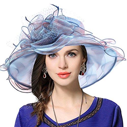 VECRY Damen Kirche Derby Kleid Fascinator Braut Mütze Britischer Tee Party Hochzeit Sonnenhüte (Pfauenblau)