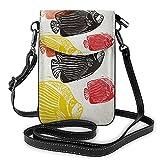AOOEDM Angelfish Crossbody - Monedero para teléfono móvil para mujeres y hombres, colorido emperador Angelfish, pez abstracto, acuario, animal, naturaleza marina, océano, piel sintética, bandolera p