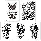 1/5 fogli tatuaggi temporanei falsi realistici grande braccio completo gamba fai da te farfalla nera adesivi tatuaggio finto impermeabile per uomini donne ragazze adulti body art