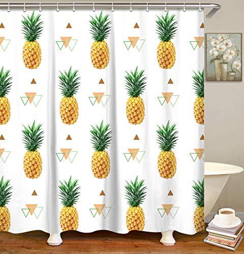 LIVILAN Duschvorhang, Ananas-Stoff, Sommer-Obst-Badezimmervorhänge, dekoratives Duschvorhang-Set mit Haken, gelb, maschinenwaschbar, 183 x 183 cm