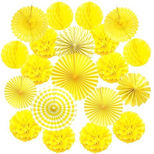 Zerodeco ZEORDECO Abanicos de Papel Bola de Nido Pom Poms Ventilador de Papel para Colgar Decoración para Cumpleaños Boda Carnaval Bebé Ducha Home Party Supplies Decoración - Amarillo