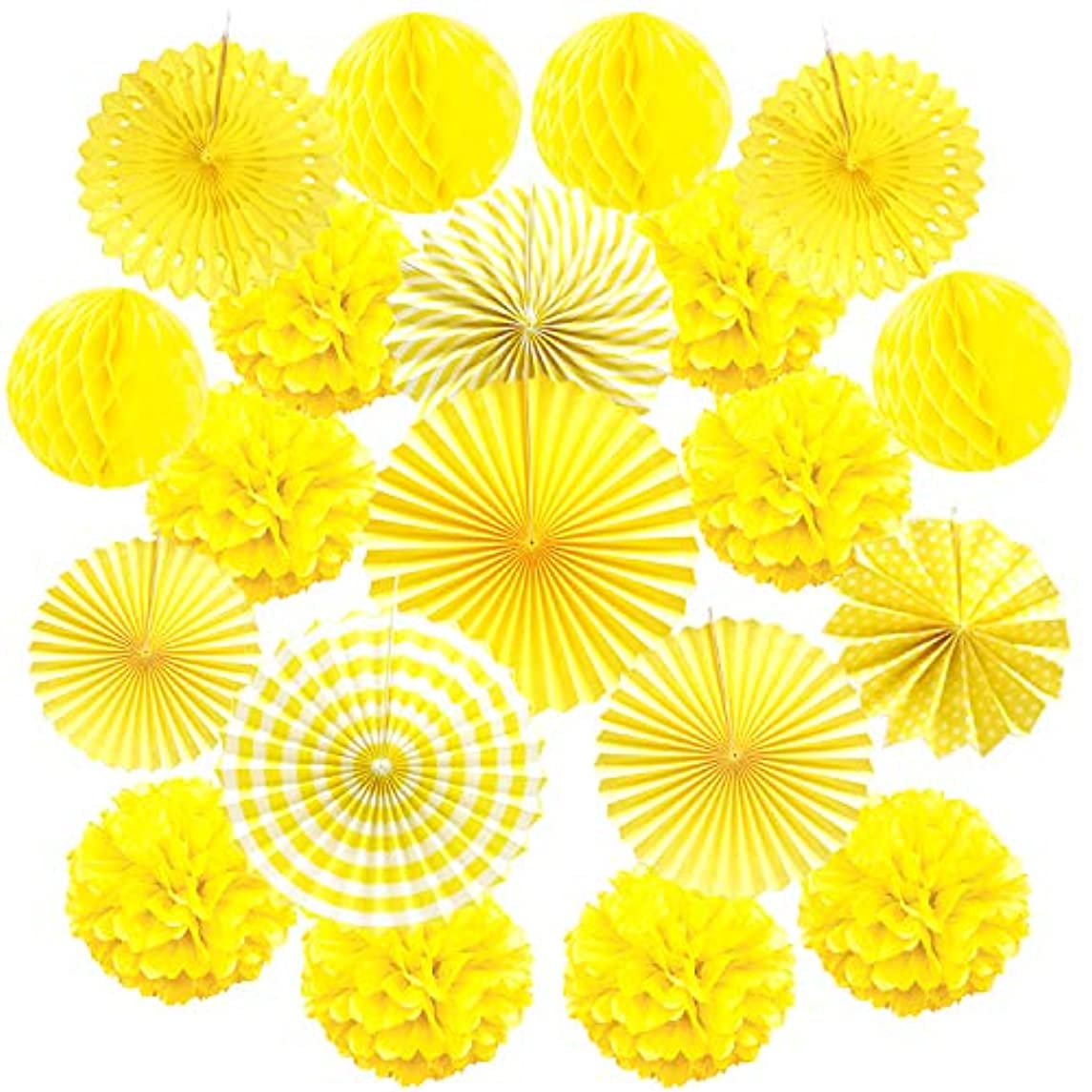Cocodeko Hanging Paper Fan Set, Tissue Paper Pom Poms Flower Fan and Honeycomb Balls for Birthday Baby Shower Wedding Festival Decorations - Yellow