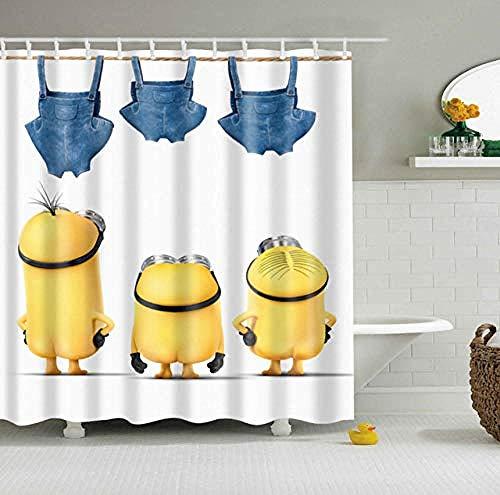 vgfjjuhn Wasserdichter Polyester Stoff 3D Cartoon Badezimmer Duschvorhänge Yellow Minions Blackout Badezimmer Vorhänge-180X200cm…