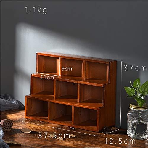 Wanxping Kreative Startseite Massivholz-Wandregale haben die Alten 12 Grid und 9 Grid Trapez- Wandbehang Storage Rack (Size : S)