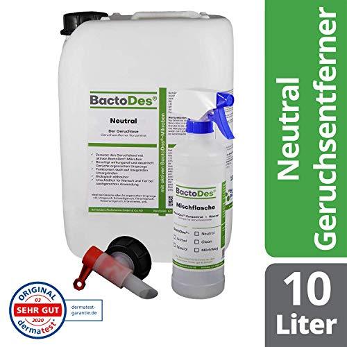 BactoDes Neutral | Geruchsneutrales, vielfältiges Geruchsentferner-Konzentrat |10Liter inkl. Geruchsneutralisierer Spray-Flasche