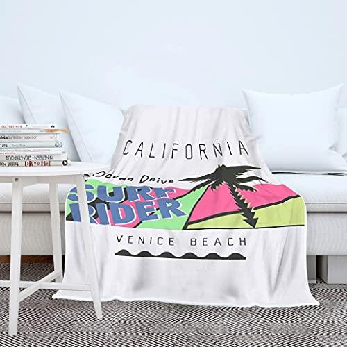 California Palme Surf Venice Beach Impresión 3D Manta Manta Manta Manta Sueño Super Suave Sofá Colcha para Niños Niñas Blanco 150 x 200 cm