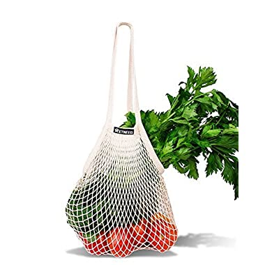 NetNeed Cotton Reusable Net Shopping Tote String Bag Organizer for Grocery Shopping & Beach, Storage, Fruit, Vegetable and Toys -Lightweight & Sturdy Mesh Produce bag(15 x 19 , Natural/Long Handle)