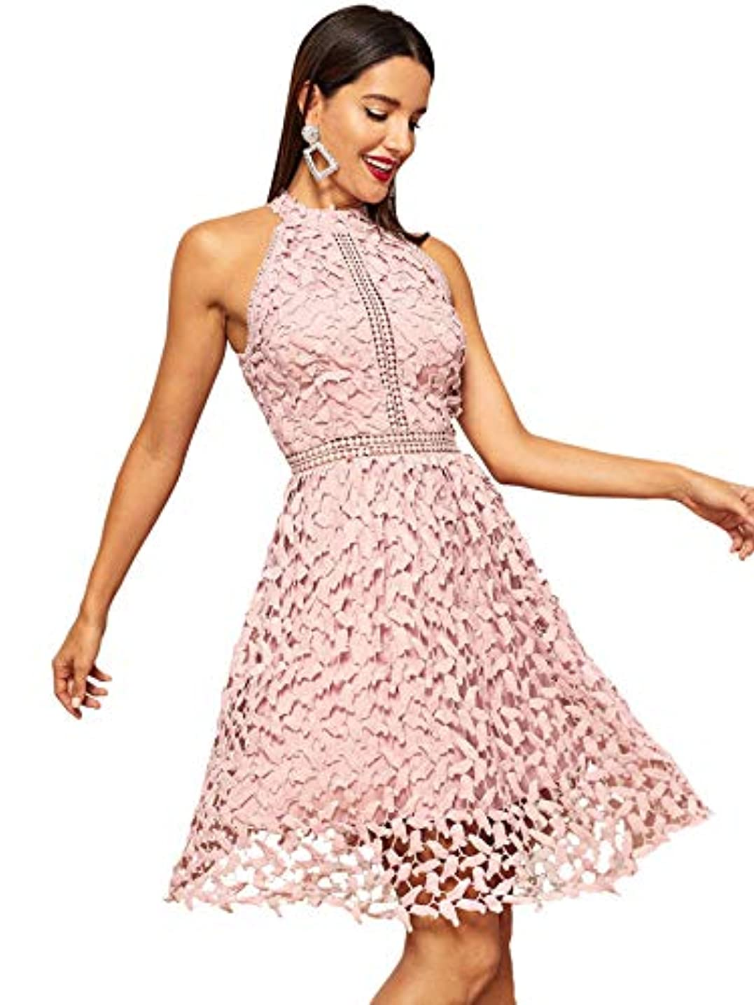 Floerns Women's Sleeveless Halter Neck Lace Cocktail Party A Line Dress