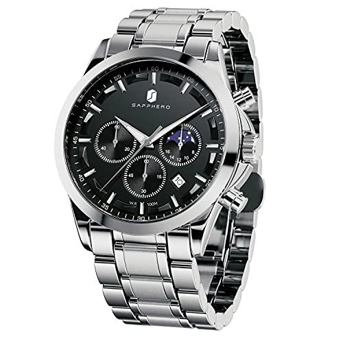 腕時計 メンズ 新しいアップグレード うで時計 メンズ 10気圧防水 アナログ、時計 メンズ おしゃれ、パーフェクトクォーツムーブメントロノグラフ、ビジネスウォッチ、防水とスクラッチ耐性 、 ベストメンズギフト とけい腕時計 メンズ watch for men