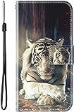 vingarshern Hülle für ZTE Nubia Z18 Handytasche Klappbares Magnetverschluss Lederhülle Flip Etui Standfunktion Schutzhülle ZTE Nubia Z18 Hülle Leder Brieftasche-(Tiger) MEHRWEG