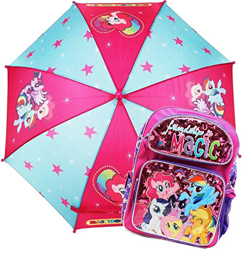 "12"" My Little Pony Book bag Backpack Back to School Bag SET Kids w/Umbrella"