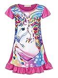Jurebecia Unicorno Camicie da Notte Bambine e Ragazze Pigiama da Notte per Bambina Vestito 9-10 Anni