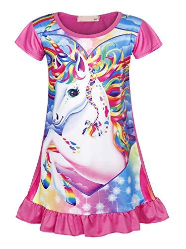 AmzBarley Camisón de Algodón Pijama Niña Unicornio Chica Manga Larga Vestido Fiesta Entero...
