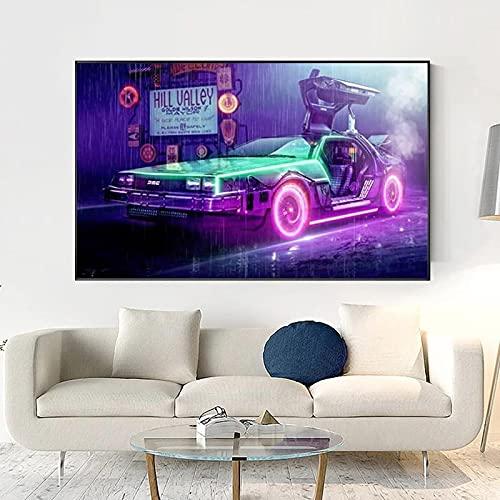 SIRIUSART Quadro su Tela Film su Tela Ritorno al Futuro Poster su Wall Art Decor Car Painting And Print Picture 60x90cm