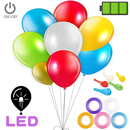 NOREEN LED Globos de Color con Interruptor,3 Modo de Parpadeo, Excelentes para Boda Cumpleaños Fiesta y Celebraciones (12pulgadas (30 cm) de Látex,20/Paquetes)