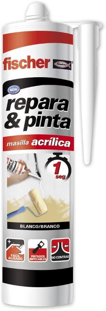 fischer – masilla acrílica Repara y Pinta (tubo de 300 ml) blanca, para grietas de pared, pintado rápido tras aplicación, aplicable sobre la mayoría de sustratos, sin imprimación