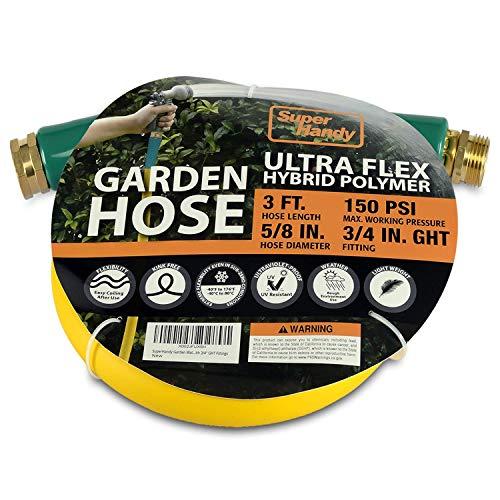 SuperHandy Garden Lead-in Water Hose 13mm(1/2') x 0.9m(3' ft) Ultra Flex...