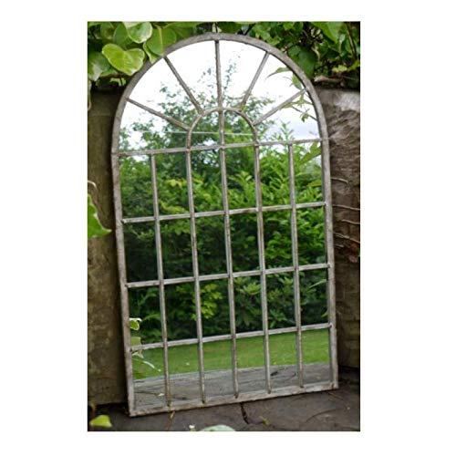Generic Dekorativer Gartenspiegel im gotischen Stil, gewölbter Stil, Metall, 36 x 60 x 1 cm