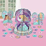 """1 """"Barbie Mermaid"""" teal and purple party table decorating kit (23 pieces) Kit includes: 1 large centerpiece (12.5""""), 2 small centerpieces (7"""") and 20 confetti pieces (2"""") Perfect for your daughter's mermaid party Centerpieces features Barbie and frie..."""