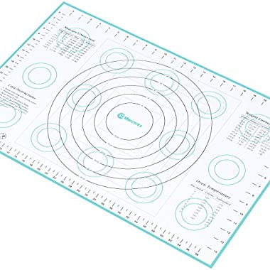Extra-Large Silicone Pastry Mat with Measurements and Conversion Charts, Non-Stick Non-Slip, Fondant Mat for Rolling Dough (X-Large (26  x 17 ), Blue)