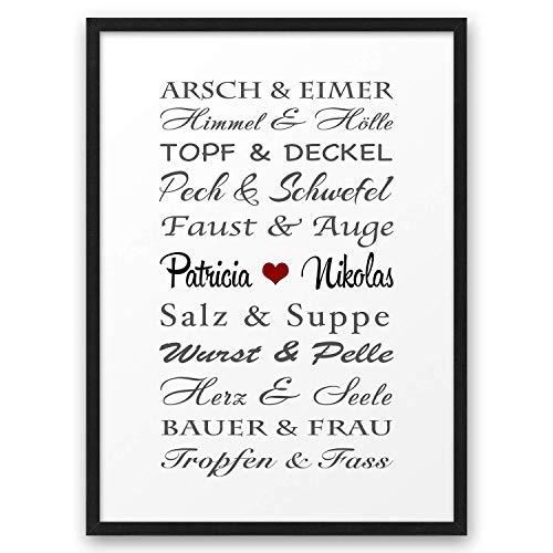 Traumpaar LUSTIG ABOUKI Kunstdruck Poster Bild mit Namen personalisiert Geschenk-Idee Hochzeit Valentinstag Jahrestag für Sie Ihn Liebes-Paar optional mit Holz-Rahmen