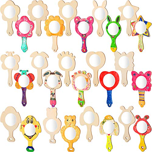 Blulu 28 Pieces DIY Wood Mirrors Unfinished Painting Handheld Mirrors Mini Wooden Princess Mirrors for DIY Handmade Craft, 14 Styles