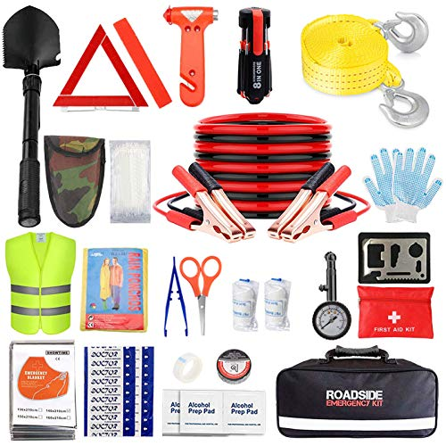 Car Emergency Kit with Jumper Cable,Auto Roadside Assistance Tool Bag for Truck Vehicle LED Flashlight,Winter Traveler Safety Emergency Kit with Blanket Shovel Triangle (12.5 x 7.5 x 3.5 inches)