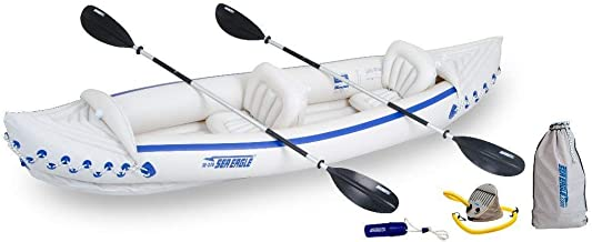 Sea Eagle 370 Deluxe 3 Person Inflatable Portable Sport Kayak Canoe w/ Paddles (Renewed)