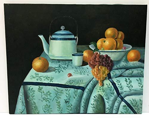 Dipinto a olio su tela di pittore italiano,soggetto Natura Morta con Frutta e Teiera,cm 40 x 50