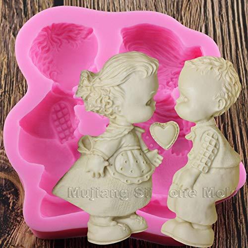 SHEANAON Molde de Silicona 3D para niña y niño, Fiesta de cumpleaños para bebé, Herramientas de decoración de Pasteles DIY, moldes de Arcilla de Caramelo de Chocolate para Hornear Fondant