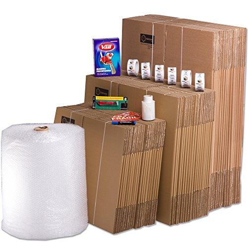 TeleCajas® | Pack Mudanza (Cajas de cartón, plástico Burbujas, precinto, etc) con el Embalaje Necesario para una mudanza de casa (Pack MUDANZA Familiar)